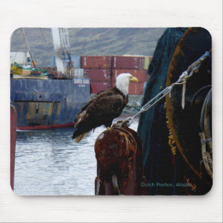 Bald Eagle on the Stern of a Trawler Mouse Pad