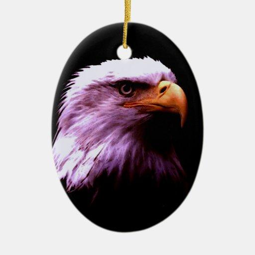 Bald Eagle Double-Sided Oval Ceramic Christmas Ornament