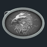 "Bald Eagle Patriotic Oval Belt Buckle<br><div class=""desc"">Grunge design of a bald eagle with scroll embellishments</div>"