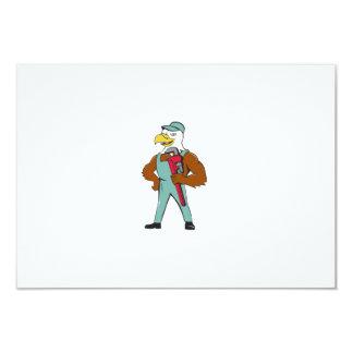Bald Eagle Plumber Monkey Wrench Cartoon Card