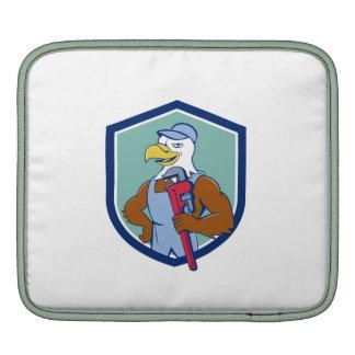 Bald Eagle Plumber Monkey Wrench Crest Cartoon iPad Sleeve