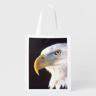 Bald Eagle Portrait, Haliaeetus leucocephalus, Grocery Bags