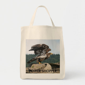 Bald Eagle Ready For Flight, POWER SHOPPER Tote Bag