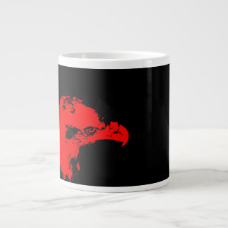 bald eagle red graphical facing right black bac large coffee mug