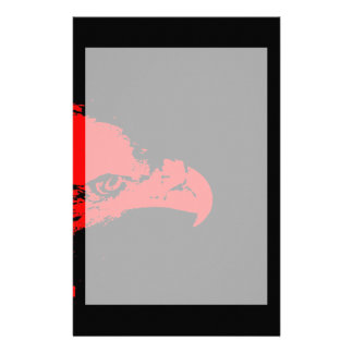 bald eagle red graphical facing right black bac stationery