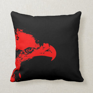 bald eagle red graphical facing right black bac throw pillow