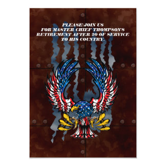 Bald Eagle ripping through rusted metal 5x7 Paper Invitation Card