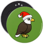 Bald Eagle Santa 6 Inch Round Button