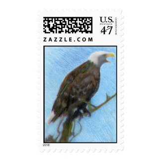 Bald Eagle Screaming in a Tree Postage
