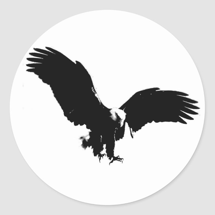 Bald Eagle Silhouette Classic Round Sticker Zazzle Com Choose from 20+ eagle silhouette graphic resources and download in the form of png, eps, ai or psd. bald eagle silhouette classic round sticker zazzle com