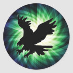 Bald Eagle Silhouette; Cool Round Stickers