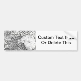 bald eagle sketch bw sideways bird animal feather bumper sticker