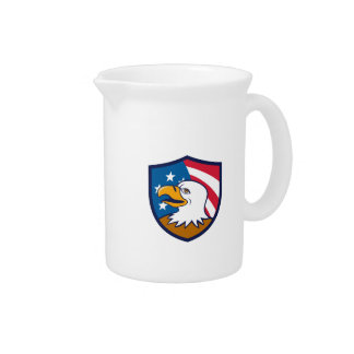 Bald Eagle Smiling USA Flag Crest Cartoon Beverage Pitcher