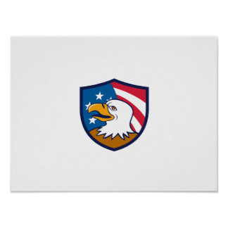 Bald Eagle Smiling USA Flag Crest Cartoon Poster