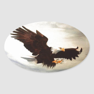 Bald Eagle Soaring Oval Sticker