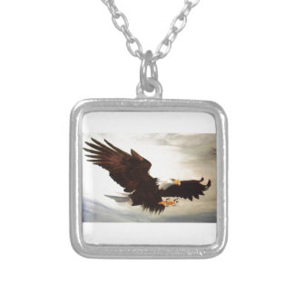 Bald Eagle Soaring Silver Plated Necklace
