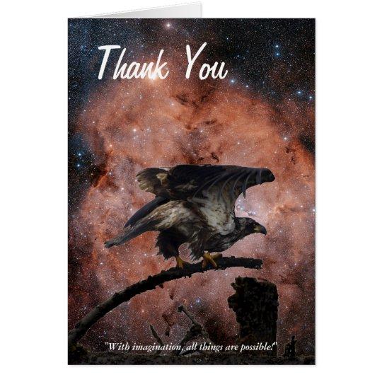 Bald Eagle/Space Motivational Thank You Card