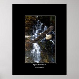 Bald Eagle, Spirit Bear & Water Fall Art Poster