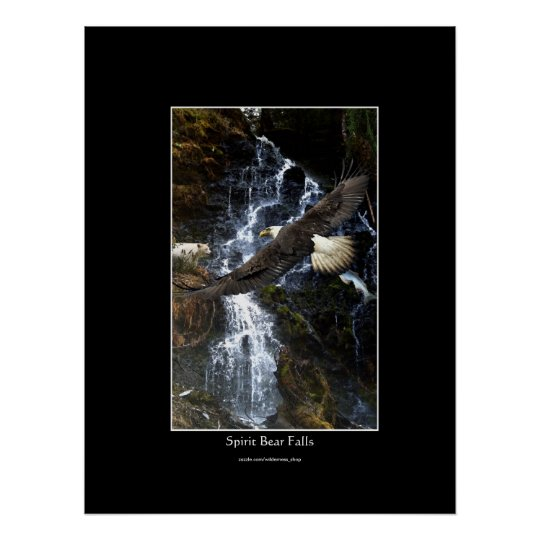 Bald Eagle, Spirit Bear & Water Fall Art Poster