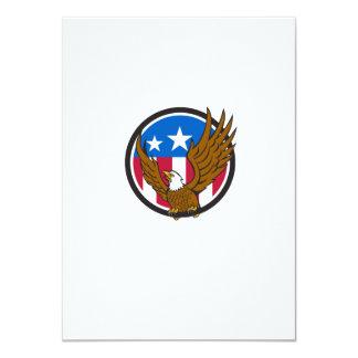 Bald Eagle Spread Wings USA Flag Circle Retro Card