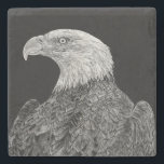 "Bald Eagle Stone Coaster<br><div class=""desc"">Stone Coaster featuring the scratch board art of a bald eagle by Shevin Childers.</div>"