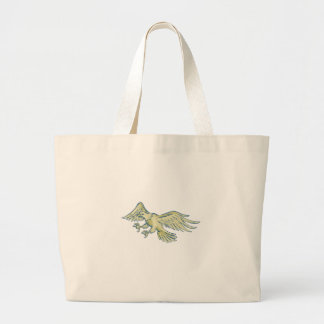 Bald Eagle Swooping Etching Large Tote Bag