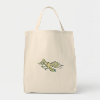 Bald Eagle Swooping Etching Tote Bag