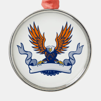 Bald Eagle Swooping Spread Wings Scroll Retro Metal Ornament