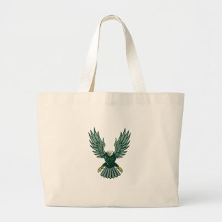 Bald Eagle Swooping Wing Spread Isolated Retro Large Tote Bag