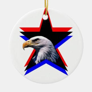 Bald eagle & the three star ceramic ornament