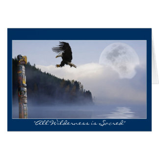 Bald Eagle, Totem Pole & Super Moon Greeting Cards