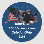 Bald Eagle/US Flag  Address Sticker