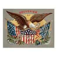 Bald Eagle US Flag Fireworks Firecracker Postcards