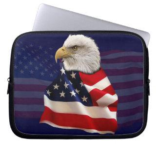Bald Eagle & US Flag Patriotic Laptop Sleeve 3