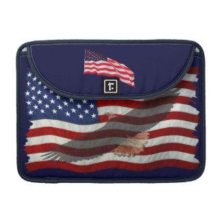 Bald Eagle & US Flag Patriotic MacBook Sleeve
