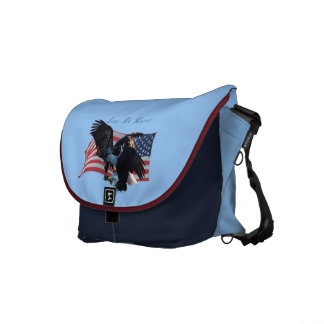 Bald Eagle & US Flag Patriotic Messenger Bag