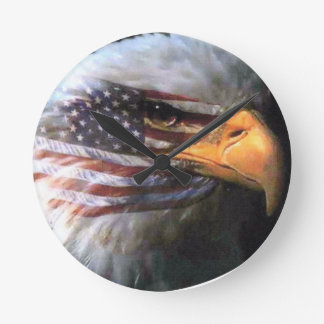 Bald Eagle - USA Flag Round Clock