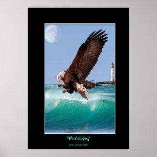 Bald Eagle, Waves & Lighthouse  Art Poster
