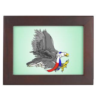 Bald Eagle Wearing Patriotic Neck Scarf Memory Box