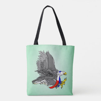 Bald Eagle Wearing Red White and Blue Scarf Tote Bag