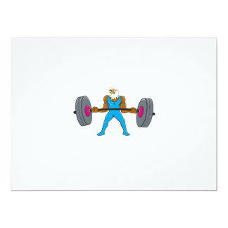 Bald Eagle Weightlifter Lifting Barbell Cartoon 6.5x8.75 Paper Invitation Card