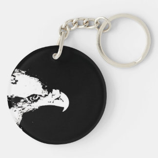 bald eagle white graphical facing right black back Double-Sided round acrylic keychain