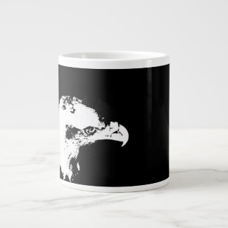 bald eagle white graphical facing right black back giant coffee mug