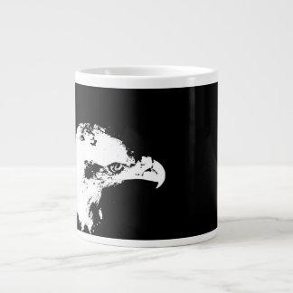 bald eagle white graphical facing right black back 20 oz large ceramic coffee mug