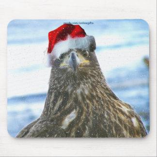 Bald Eagle & Winter Snow-fall Christmas Mousepad