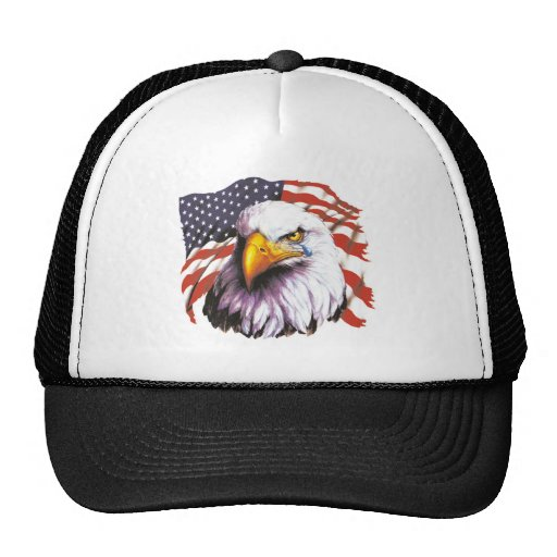 Bald Eagle With A Tear - USA Flag In Background Trucker Hats