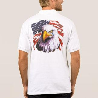 Bald Eagle With A Tear - USA Flag In Background Polo Shirt