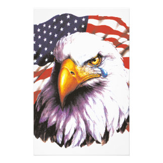 Bald Eagle With A Tear - USA Flag In Background Stationery