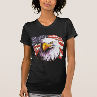 Bald Eagle With A Tear - USA Flag In Background T-Shirt
