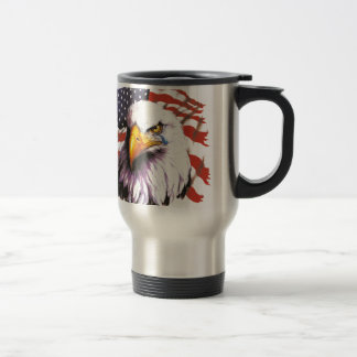 Bald Eagle With A Tear - USA Flag In Background Travel Mug